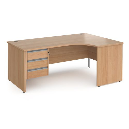 Contract 25 right hand ergonomic desk with 3 drawer silver pedestal and panel leg 1800mm - beech