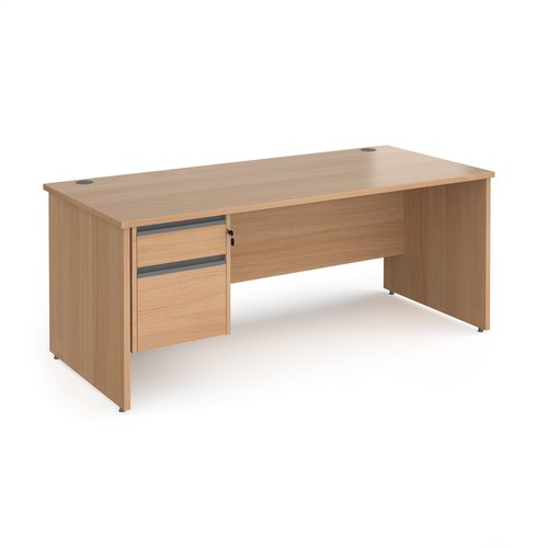 Contract 25 straight desk with 2 drawer graphite pedestal and panel leg 1800mm x 800mm - beech