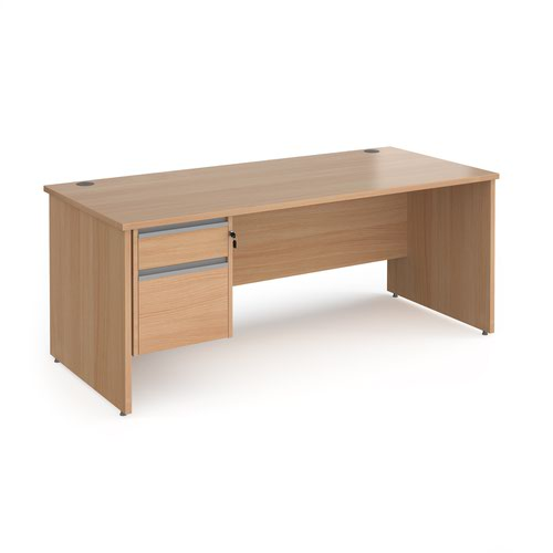 Contract 25 straight desk with 2 drawer silver pedestal and panel leg 1800mm x 800mm - beech