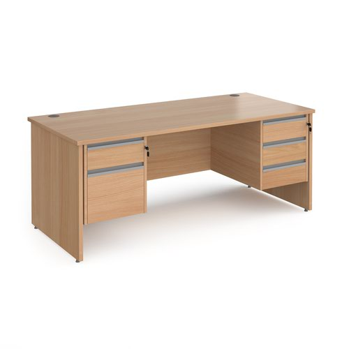Contract 25 straight desk with 2 and 3 drawer silver pedestals and panel leg 1800mm x 800mm - beech