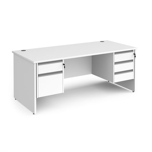 Contract 25 straight desk with 2 and 3 drawer silver pedestals and panel leg 1800mm x 800mm - white