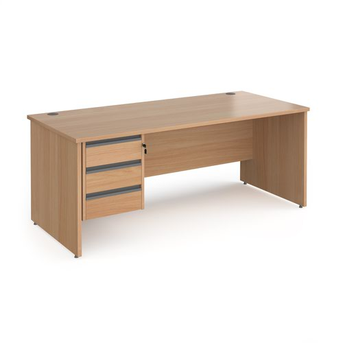 Contract 25 straight desk with 3 drawer graphite pedestal and panel leg 1800mm x 800mm - beech
