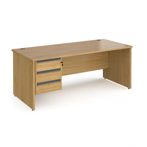 Contract 25 straight desk with 3 drawer graphite pedestal and panel leg 1800mm x 800mm - oak