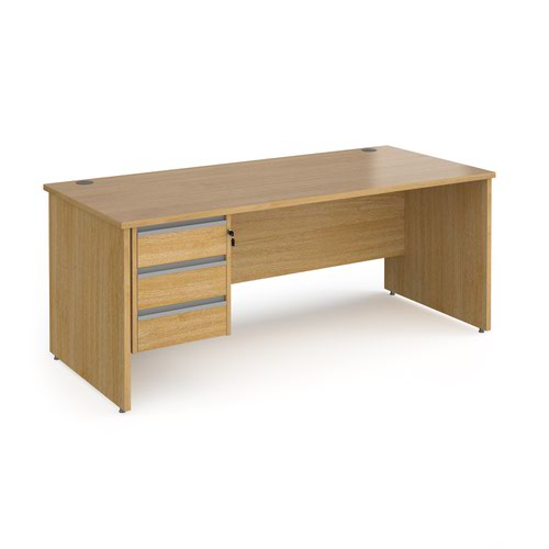 Contract 25 straight desk with 3 drawer silver pedestal and panel leg 1800mm x 800mm - oak