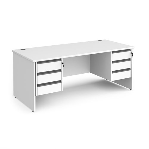 Contract 25 straight desk with 3 and 3 drawer graphite pedestals and panel leg 1800mm x 800mm - white