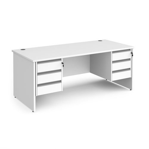 Contract 25 straight desk with 3 and 3 drawer silver pedestals and panel leg 1800mm x 800mm - white