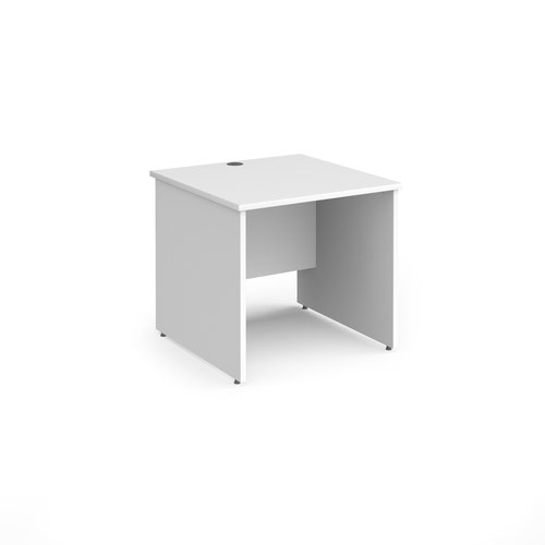 Contract 25 straight desk with panel leg 800mm x 800mm - white