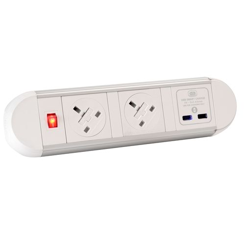 Chroma clip-on power module 2 x UK sockets, 1 x twin USB fast charge - white