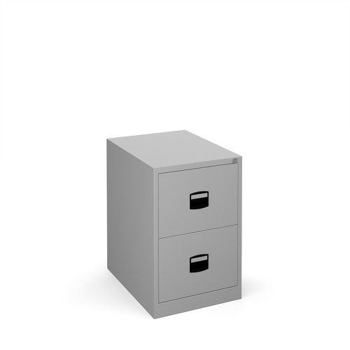 Steel 2 drawer contract filing cabinet 711mm high - silver