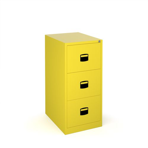 Image for Steel 3 drawer contract filing cabinet 1016mm high - yellow
