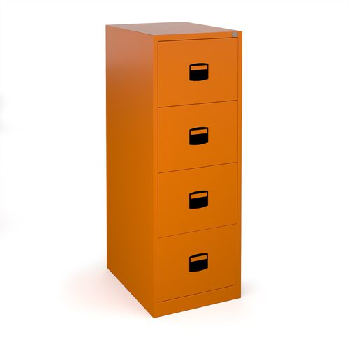 Steel 4 drawer contract filing cabinet 1321mm high - orange