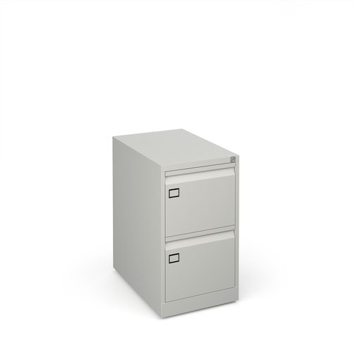 Steel 2 drawer executive filing cabinet 711mm high - goose grey