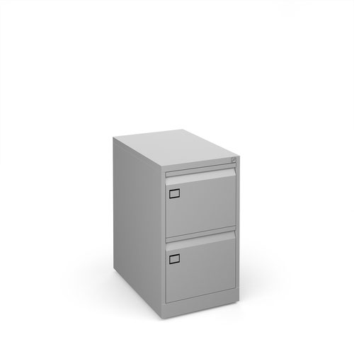 Steel 2 drawer filing cabinet 711mm high - silver