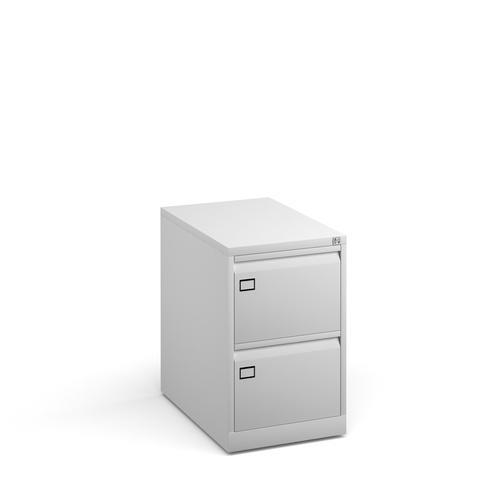 Steel 2 drawer filing cabinet 711mm high - white