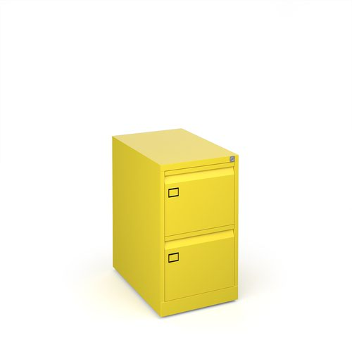 Steel 2 drawer executive filing cabinet 711mm high - yellow