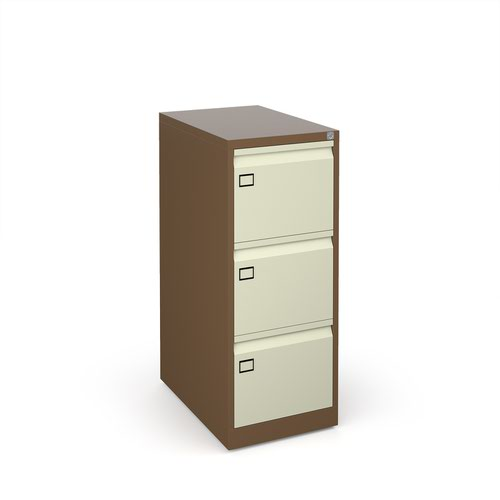Image for Steel 3 drawer executive filing cabinet 1016mm high - coffee/cream