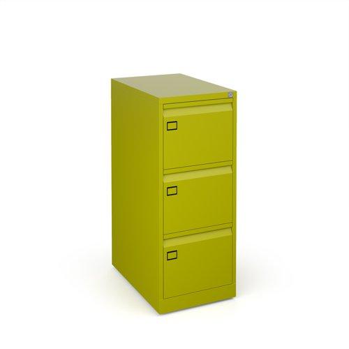 Steel 3 drawer filing cabinet 1016mm high - green