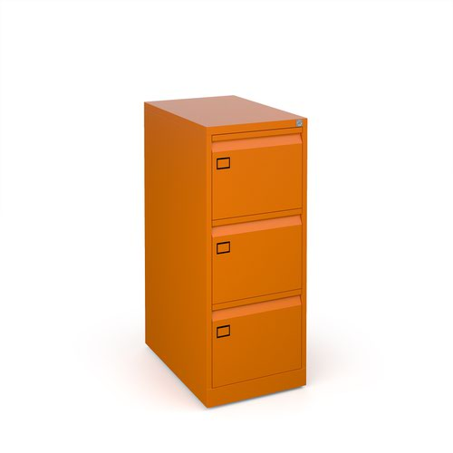 Steel 3 drawer executive filing cabinet 1016mm high - orange