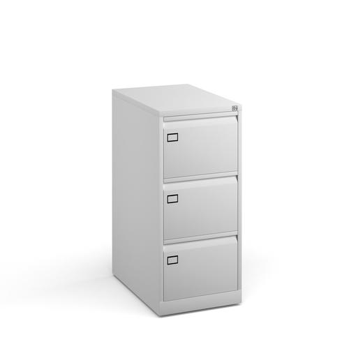 Image for Steel 3 drawer executive filing cabinet 1016mm high - white