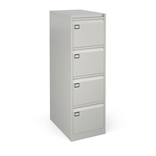 Steel 4 drawer executive filing cabinet 1321mm high - goose grey
