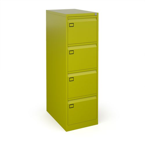 Steel 4 drawer filing cabinet 1321mm high - green