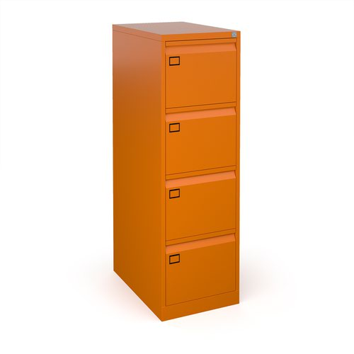 Steel 4 drawer filing cabinet 1321mm high - orange