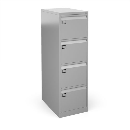 Steel 4 drawer executive filing cabinet 1321mm high - silver