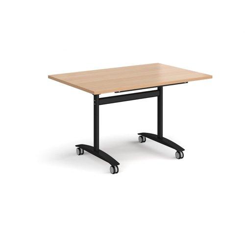 Rectangular deluxe fliptop meeting table with black frame 1200mm x 800mm - beech