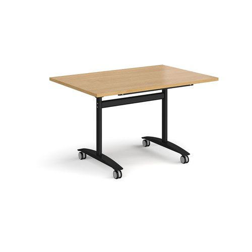 Rectangular deluxe fliptop meeting table with black frame 1200mm x 800mm - oak