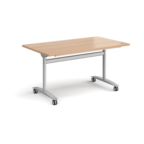 Rectangular deluxe fliptop meeting table with silver frame 1400mm x 800mm - beech