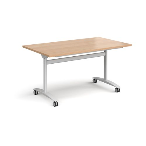 Rectangular deluxe fliptop meeting table with white frame 1400mm x 800mm - beech