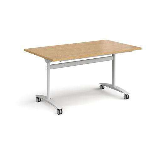 Rectangular deluxe fliptop meeting table with white frame 1400mm x 800mm - oak