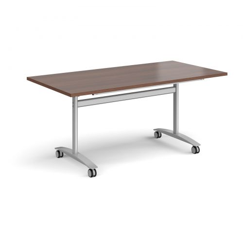 Image for Rectangular deluxe fliptop meeting table with silver frame 1600mm x 800mm - walnut