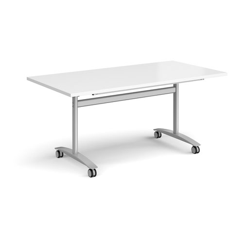 Image for Rectangular deluxe fliptop meeting table with silver frame 1600mm x 800mm - white