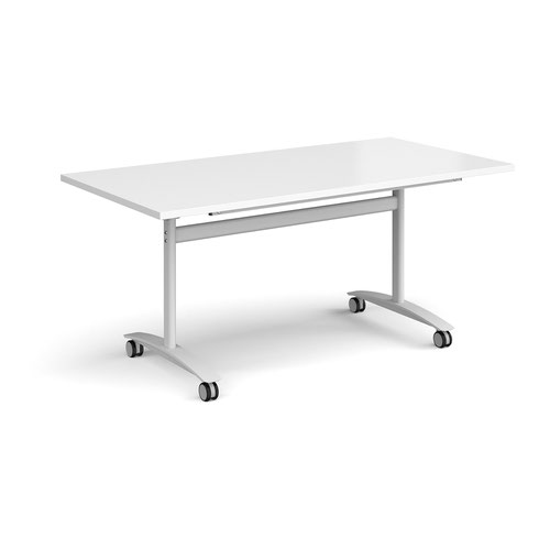 Rectangular deluxe fliptop meeting table with white frame 1600mm x 800mm - white