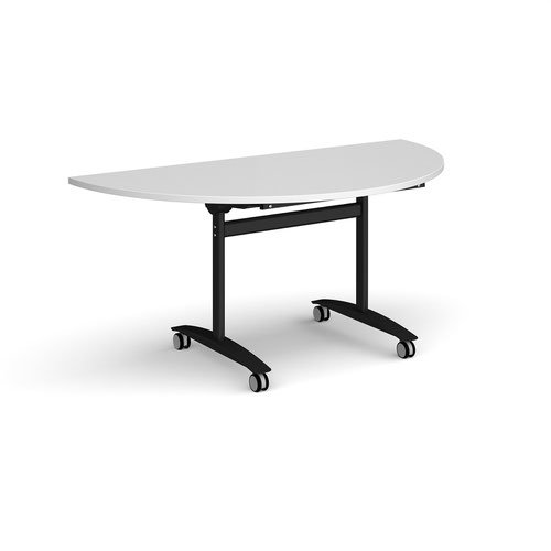 Semi circular deluxe fliptop meeting table with black frame 1600mm x 800mm - white