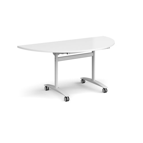 Semi circular deluxe fliptop meeting table with white frame 1600mm x 800mm - white