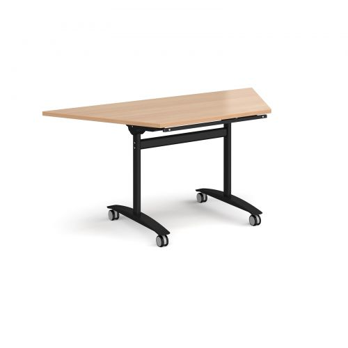 Image for Trapezoidal deluxe fliptop meeting table with black frame 1600mm x 800mm - beech