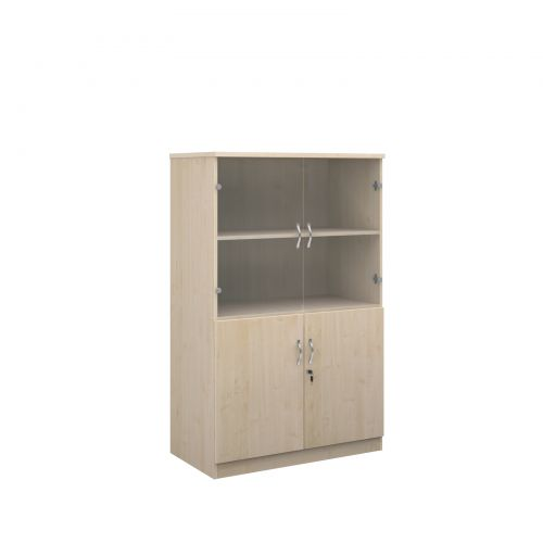 Deluxe combination unit with glass upper doors 1600mm high with 3 shelves - maple