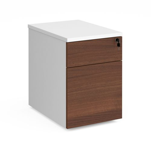 Duo 2 drawer mobile pedestal 600mm deep - white with walnut drawers