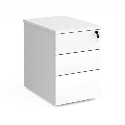 Deluxe 3 drawer mobile pedestal 600mm deep - white