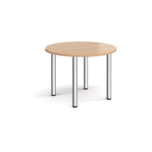 Circular chrome radial leg meeting table 1000mm - beech