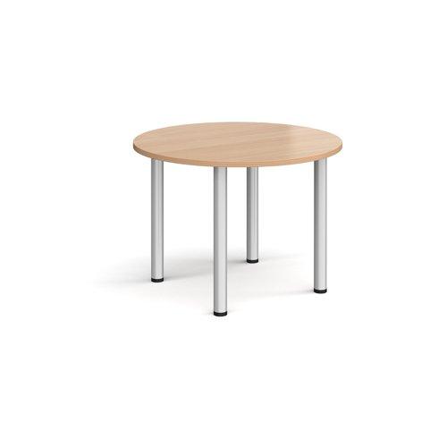 Circular silver radial leg meeting table 1000mm - beech