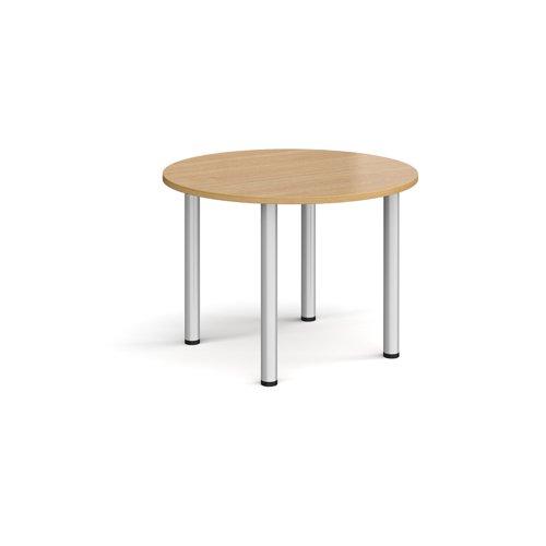 Circular silver radial leg meeting table 1000mm - oak