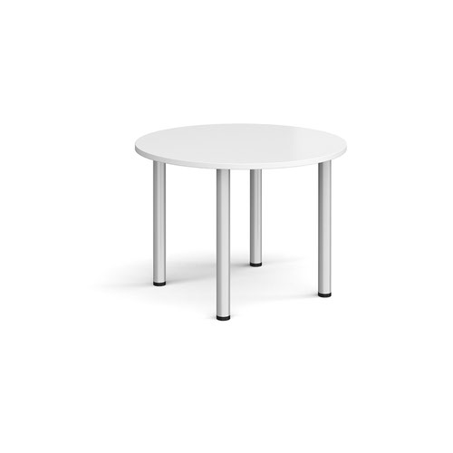Circular silver radial leg meeting table 1000mm - white