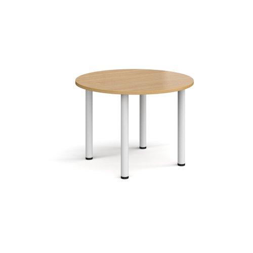 Circular white radial leg meeting table 1000mm - oak