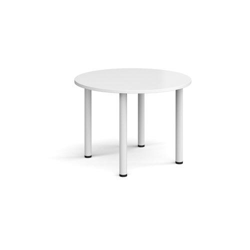 Circular white radial leg meeting table 1000mm - white