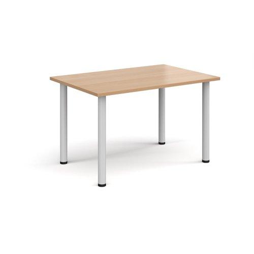 Rectangular white radial leg meeting table 1200mm x 800mm - beech