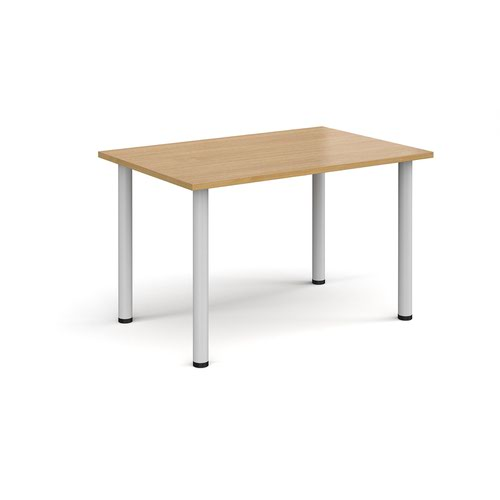 Rectangular white radial leg meeting table 1200mm x 800mm - oak