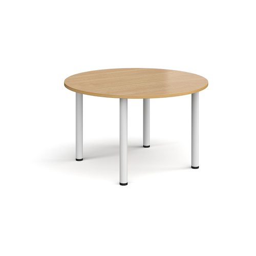 Circular white radial leg meeting table 1200mm - oak